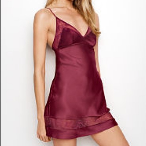 a6481d6c92 Victoria s Secret Very Sexy Satin Lace Slip Red S